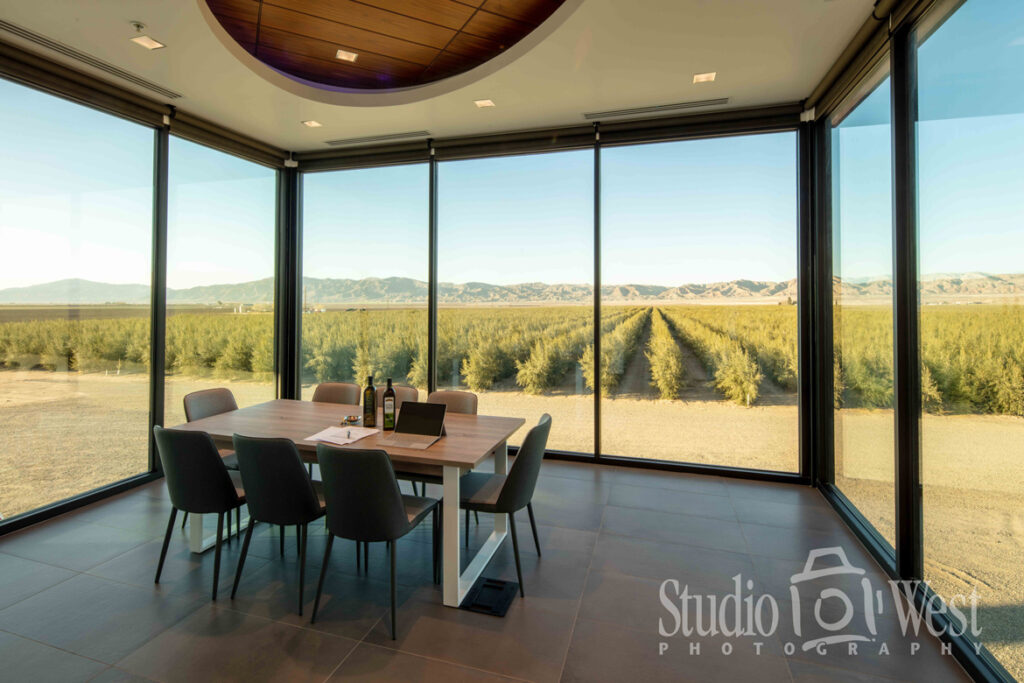 Sunrise Olive Ranch glass conference room interior photography - Olive tree ranch photography - Studio 101 West Photography