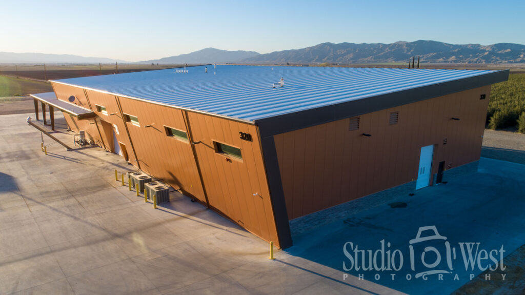 Drone Aerial Photography Olive Ranch - Sunrise Olive Ranch Photographer - Processing Plant Building Photography - Studio 101 West Photography