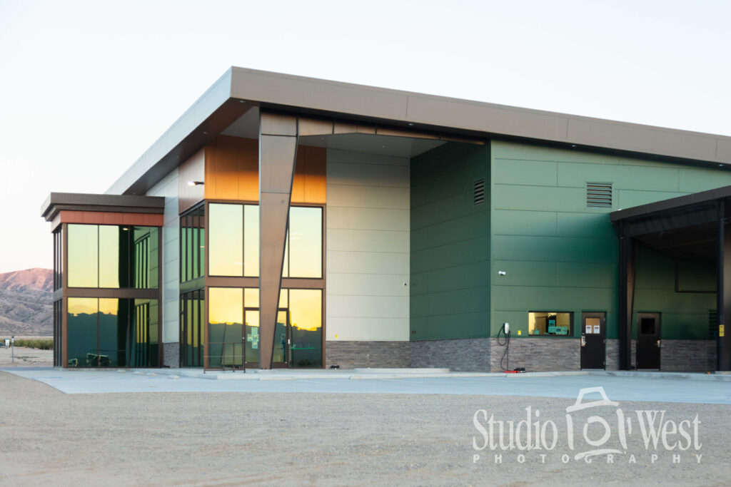 Sunrise Olive Ranch New Cuyama California Photographer - Architectural Photography - Building Exterior - Glass and Metal Photographer - Studio 101 West Photography