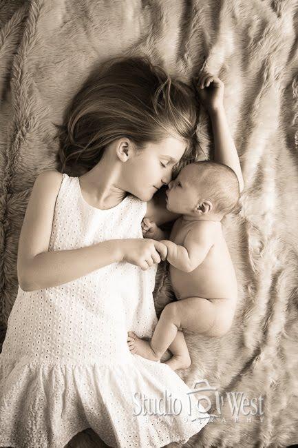 Baby Photoshoot - Sibling Infant Portrait - Studio 101 West Photography