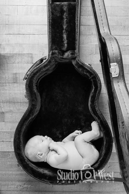 Baby in Guitar Case - Infant Portrait - Studio 101 West Photography