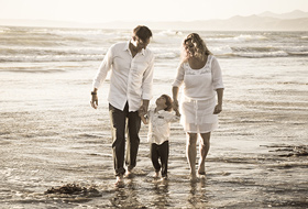 Central Coast Beach Family Portrait - Walking on Beach Family Pictures - Studio 101 West Photography