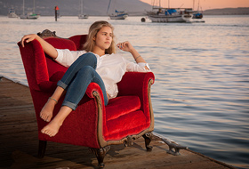 Atascadero High Senior Portrait - Morro Bay Dock Red Chair Senior Pictures - Studio 101 West Photography
